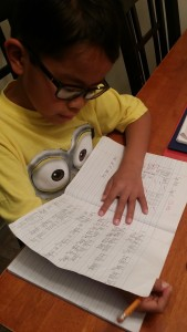 Eldest son doing his homework