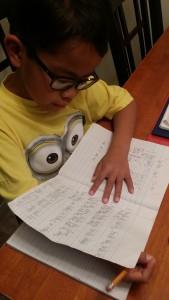 Eldest son doing his homework